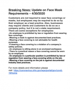 Breaking News: Update on Face Mask Requirements – 4/30/2020