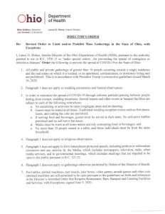 Ohio Department of Health Gathering Order 11-15-2020